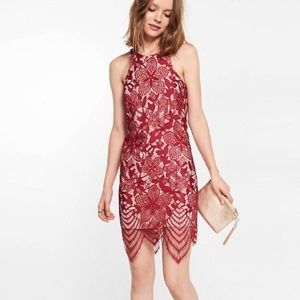 EXPRESS Deep Red Lace Cocktail Dress S NWT
